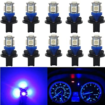 WLJH 10x T10 Wedge 5-5050SMD Azul LED bombillas W5W 168 194 LED Panel de instrumentos Tablero Cluster Tablero de la lámpara Set w / Twist Socket: Amazon.es: ...