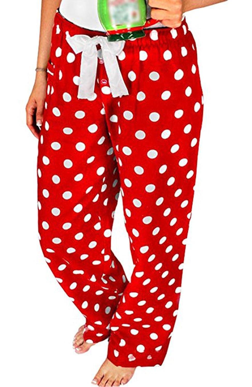Pyjama Noël Pantalon à Pois pour Femme PJs Vêtement de Nuit