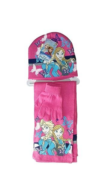 Disney Set 3pz cappello sciarpa guanti bambina frozen (fucsia feb7fd422700