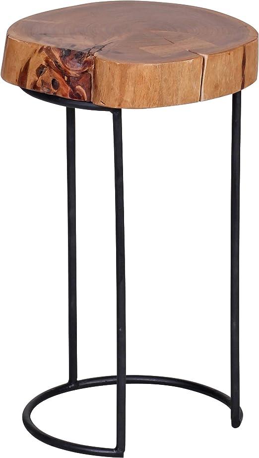 Mesa auxiliar de madera de acacia Wohnling 28 x 45 cm a modo de ...