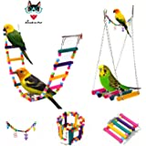 AnnaEye Pet Bird Parrot Parakeet Budgie Cockatiel Cage Hammock Swing Toy Hanging Toy Swings,Ladders for Pet Trainning