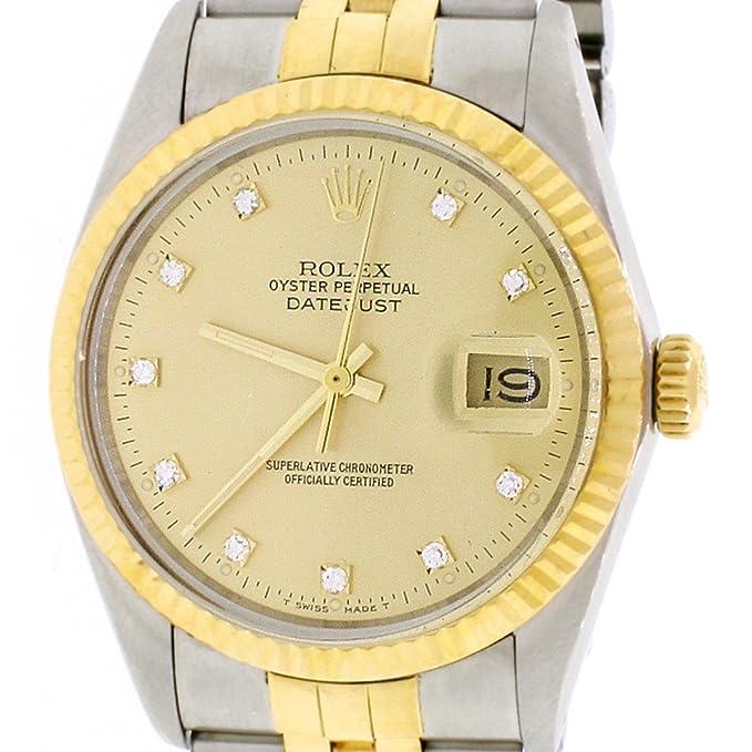 Rolex Datejust - Reloj de Pulsera para Hombre, Oro Amarillo de 18 Quilates y Acero Inoxidable, Esfera de Diamante de champán de fábrica de 36 mm, ...