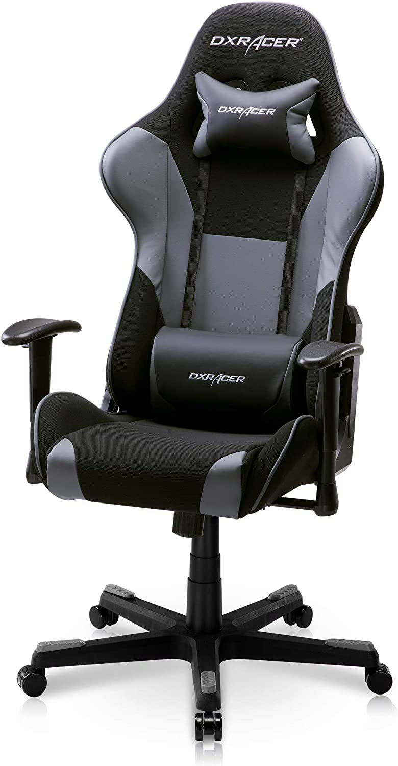 DXRacer PC Gaming Chair Racing Style Office Computer Seat Height Adjustable Recliner with Ergonomic Head Pillow and Lumbar Support, Formula Series, Standard, Black & Gray