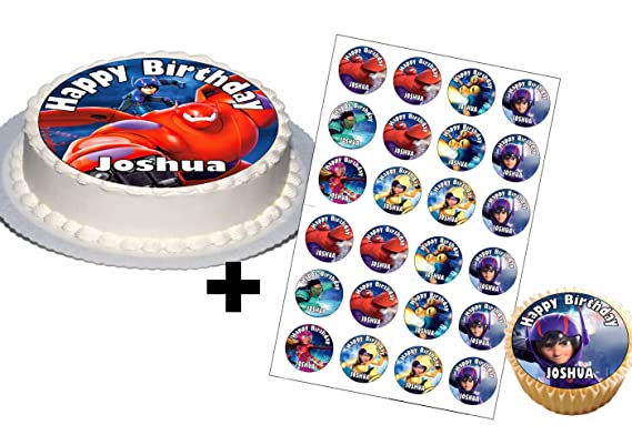Big Hero 6 Birthday Party Set Cake Toppers Baymax with Any Name on