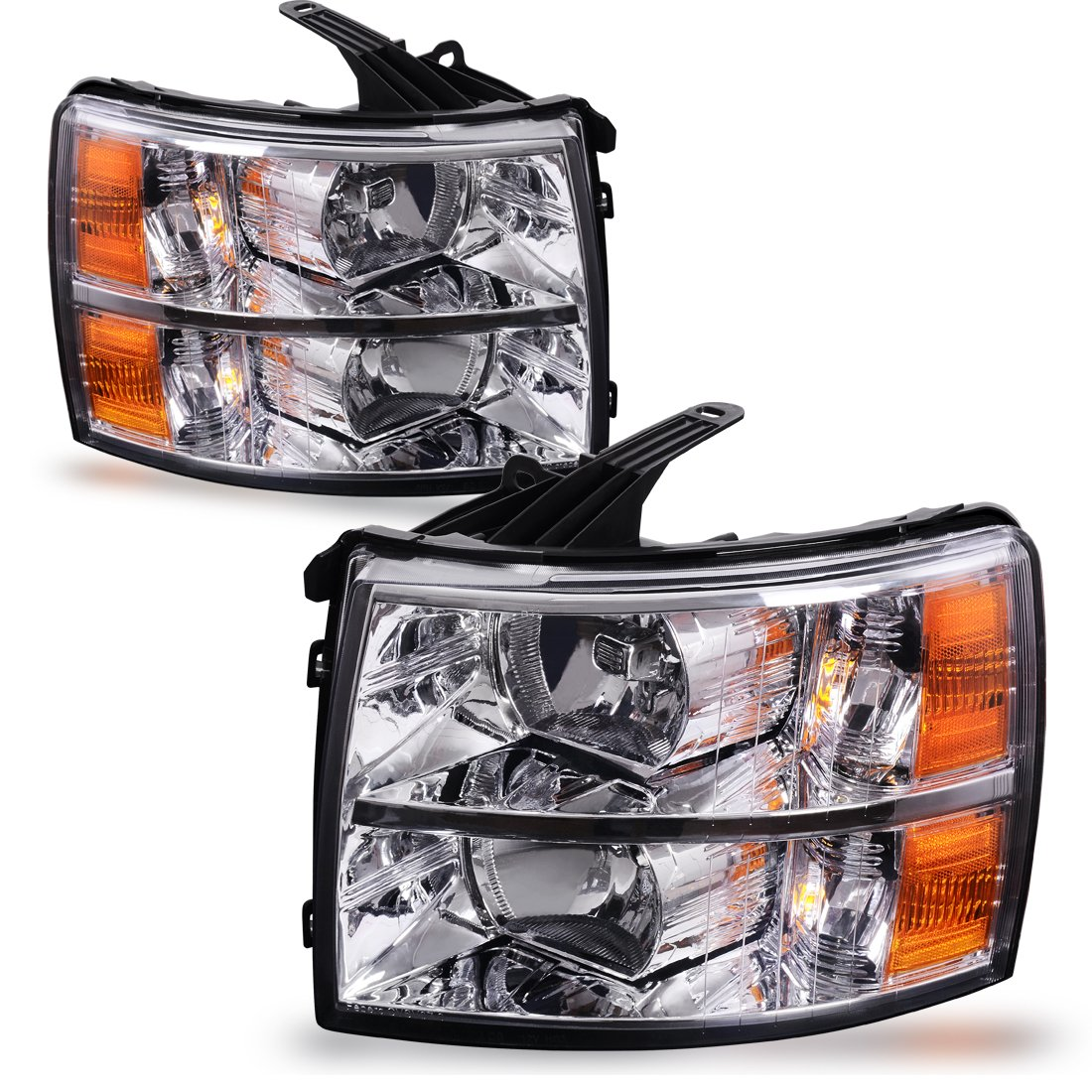 Headlight Assembly For 2007 2014 Chevy Silverado 2013 Truck Wiring Replacement Headlamp Driving Light Chrome Housing Amber Reflector Clear Lens2 Year Warranty
