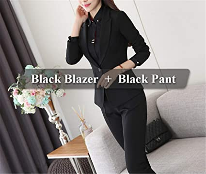 Frozac Two Piece Ladies Formal Pant Suit Office Uniform Designs Women  Business Suits Black Blazer for 4e41fa99fce4