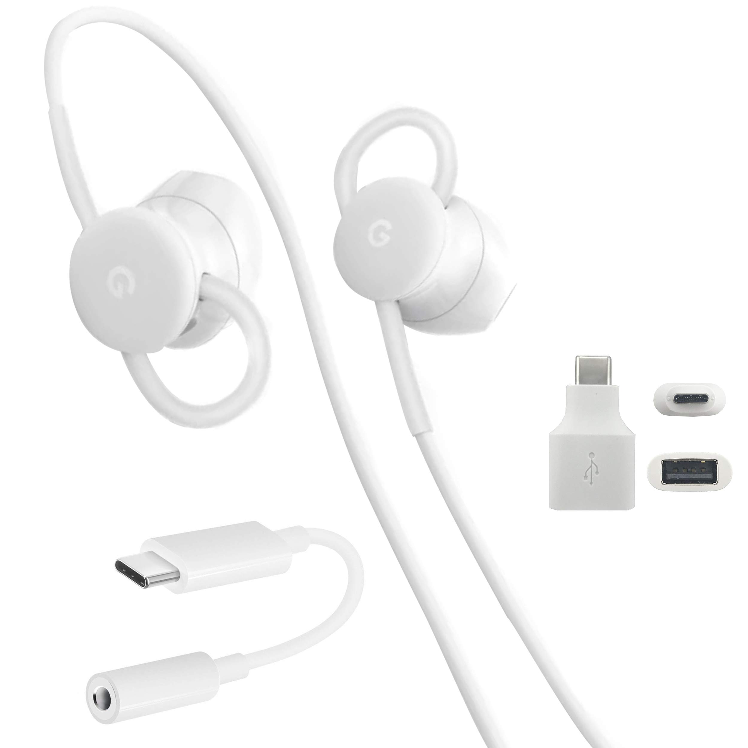 USB-C Earbuds, USB-C to 3.5mm Adapter, USB-C to USB 3.0 Adapter, for Google Pixel Devices - Accessory Combo Kit by Phihong Technology co. (Image #1)