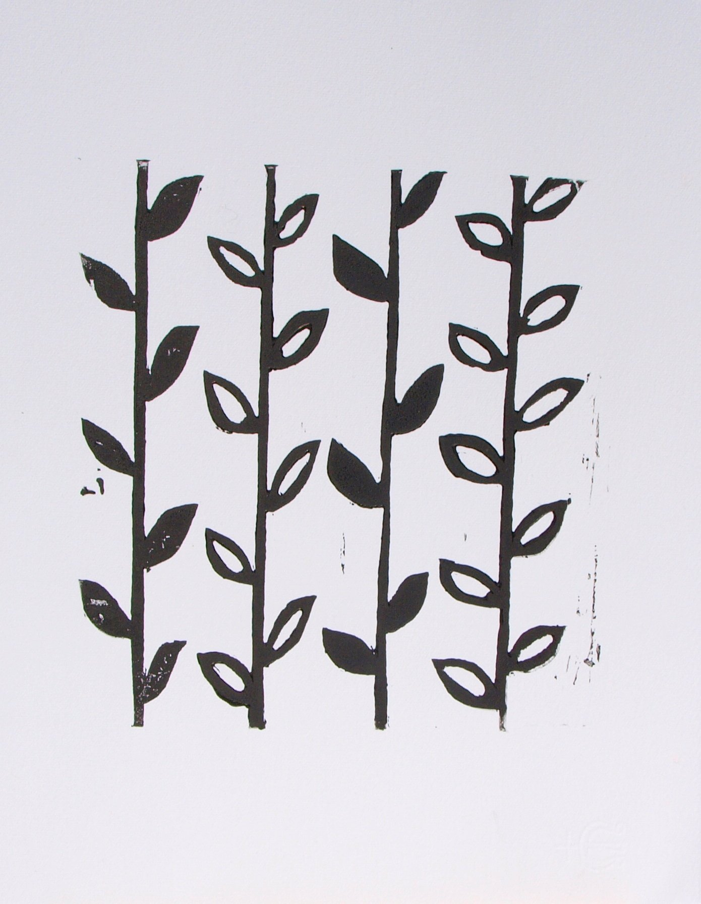 Black and White Flower Stem Linoprint by