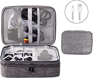 Electronics Organizer, OrgaWise Electronic Accessories Bag Travel Cable Organizer Three-Layer for iPad Mini, Kindle, Hard Drives, Cables, Chargers (Three-Layer-Grey)