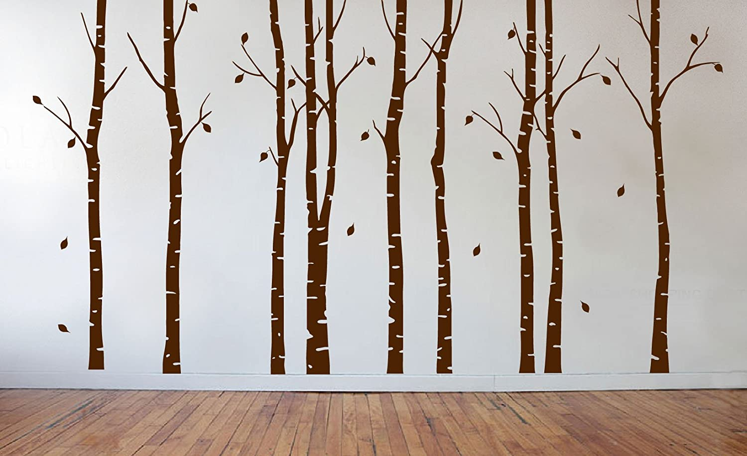 #1263 Tall Matte White, 84 7ft Birch Tree Wall Decal Nursery Forest Vinyl Sticker Removable Animals Branches Art Stencil Leaves 9 Trees
