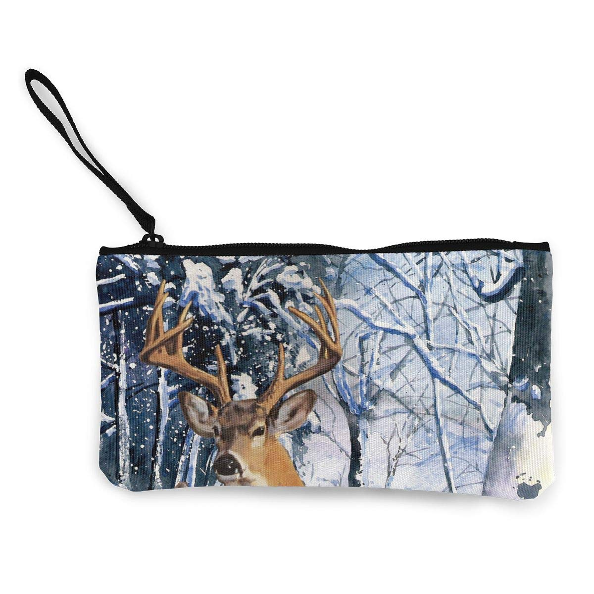 Maple Memories Deer Animal Portable Canvas Coin Purse Change Purse Pouch Mini Wallet Gifts For Women Girls