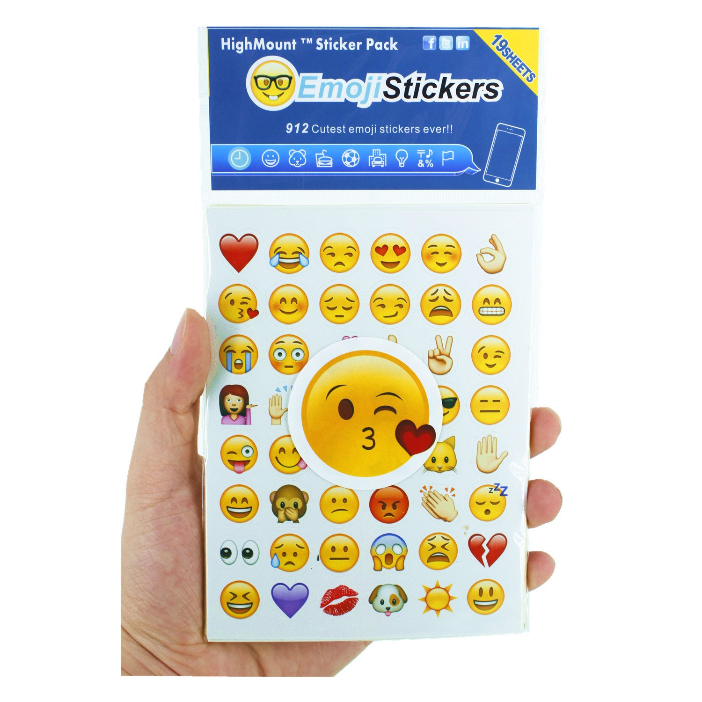 Emoji Pegatinas 19 hojas con las etiquetas engomadas del niño de las caras de Emojis del iPhone Facebook Twitter HighMount