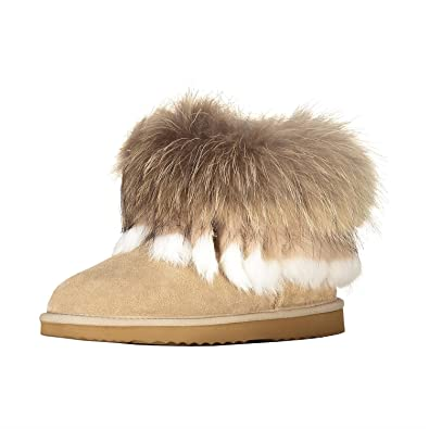 OOG by H4F Damen echt Leder Boots Stiefel Pelz Fell Fellstiefel Fox Mini  (Farbe  5c8e876803