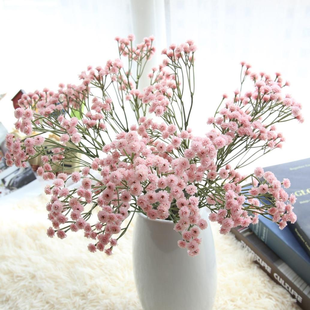 Vibola® Four seasons sky star flower Artificial Silk Fake Flowers Baby's Breath Floral Wedding Bouquet Party Decors(Vase not included) (Pink)