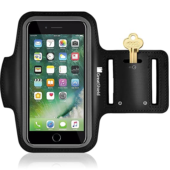 hot sale online 87ac8 0fcf0 iPhone 8 Plus Armband, GreatShield FIT Neoprene Stretchable Waterproof Arm  Holder for Sports & Fitness Case during Running, Workout, Gym w/ Key Slot  ...
