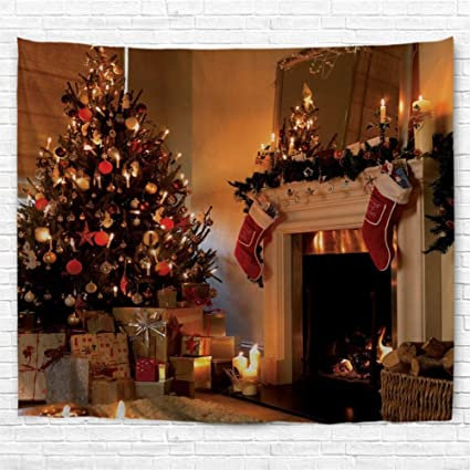 bjhap christmas large tapestry wall tapestry fireplace xmas tree red boot holiday party decor tapestry print - Fireplace Christmas Decorations Amazon