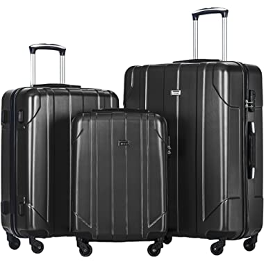 Merax 3 Piece P.E.T Luggage Set Eco-friendly Light Weight Spinner Suitcase (Black-1)