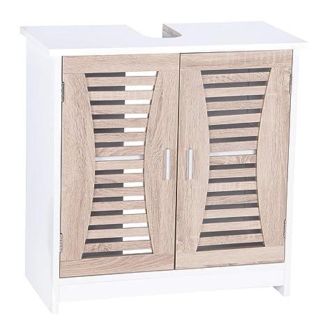 Woltu Mueble para Debajo del Lavabo Madera, 2 Puertas para Cuarto de Baño 60x30x60,