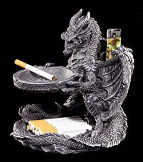 Aschenbecher Drachen Figur Mit Feuerzeughalter Und Ablage