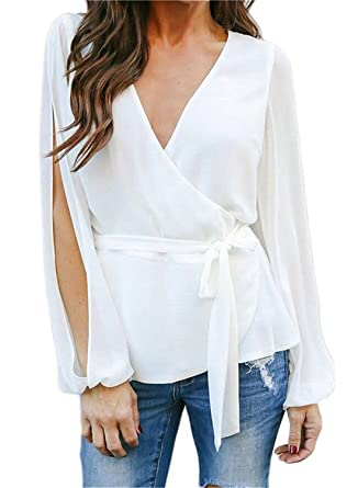cee75371581c22 MIHOLL Women's Casual V Neck Tops Slit Sleeve Tie Waist Chiffon Blouse  Shirts at Amazon Women's Clothing store: