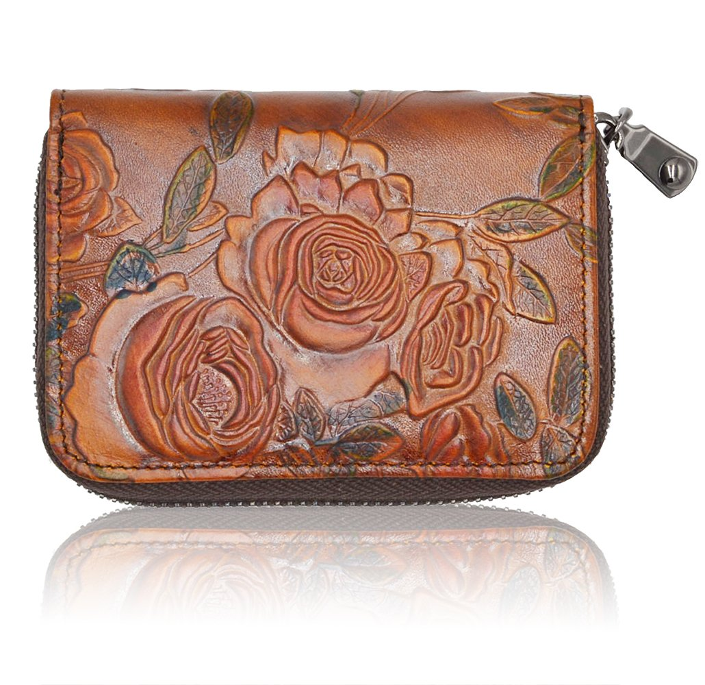 RFID Blocking Credit Card Holder for Women - Leather Zipper Card Case Minimalist Accordion Wallet Hand-Painted Color by Freezx (Image #2)