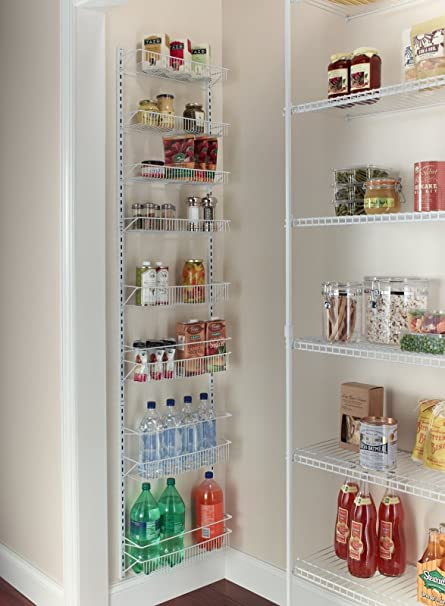 NUMBERNINE,Adjustable Over the Door Storage Rack 8 Shelves Kitchen Pantry  Organizer Food, kitchen storage