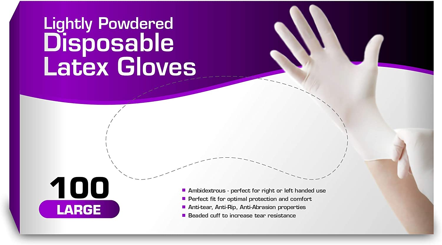 Disposable Latex Gloves, Lightly Powdered, Comfortable Fit 100 per Box (Large)