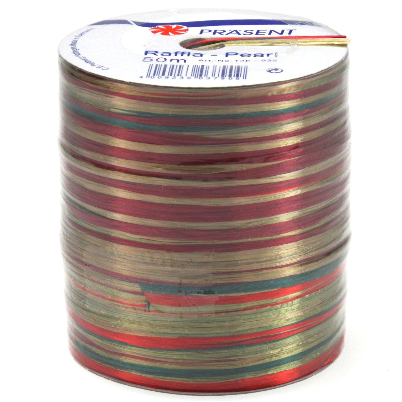55-Yard Morex Ribbon Pearl Raffia Fabric Ribbon Spool Burgundy
