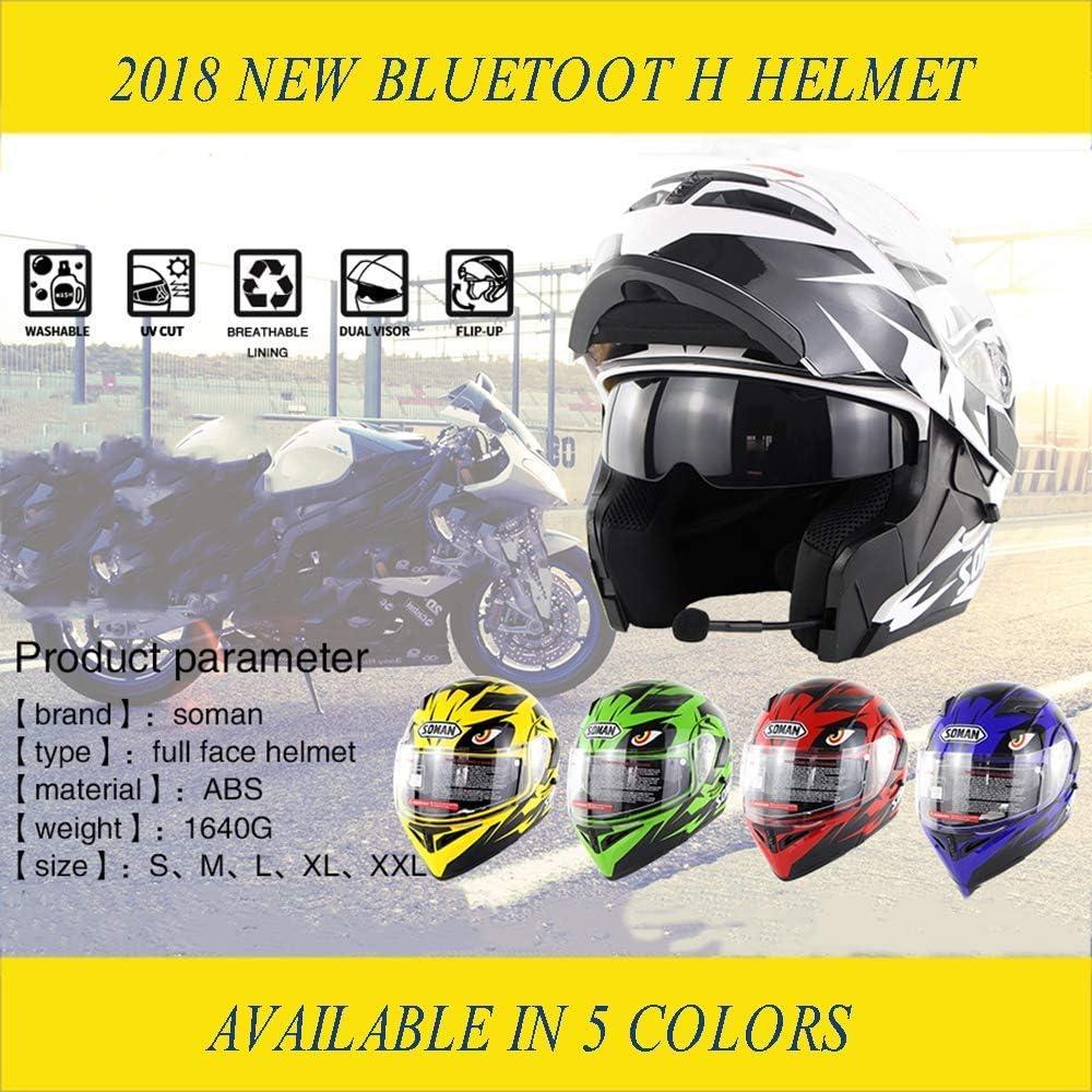 LOOSTE Moto Casco Moto Bluetooth Integrato modulare Vibrazione di Fronte Pieno del Casco del Motociclo D.O.T Certificato Doppio Specchio MP3 Chiamata HD