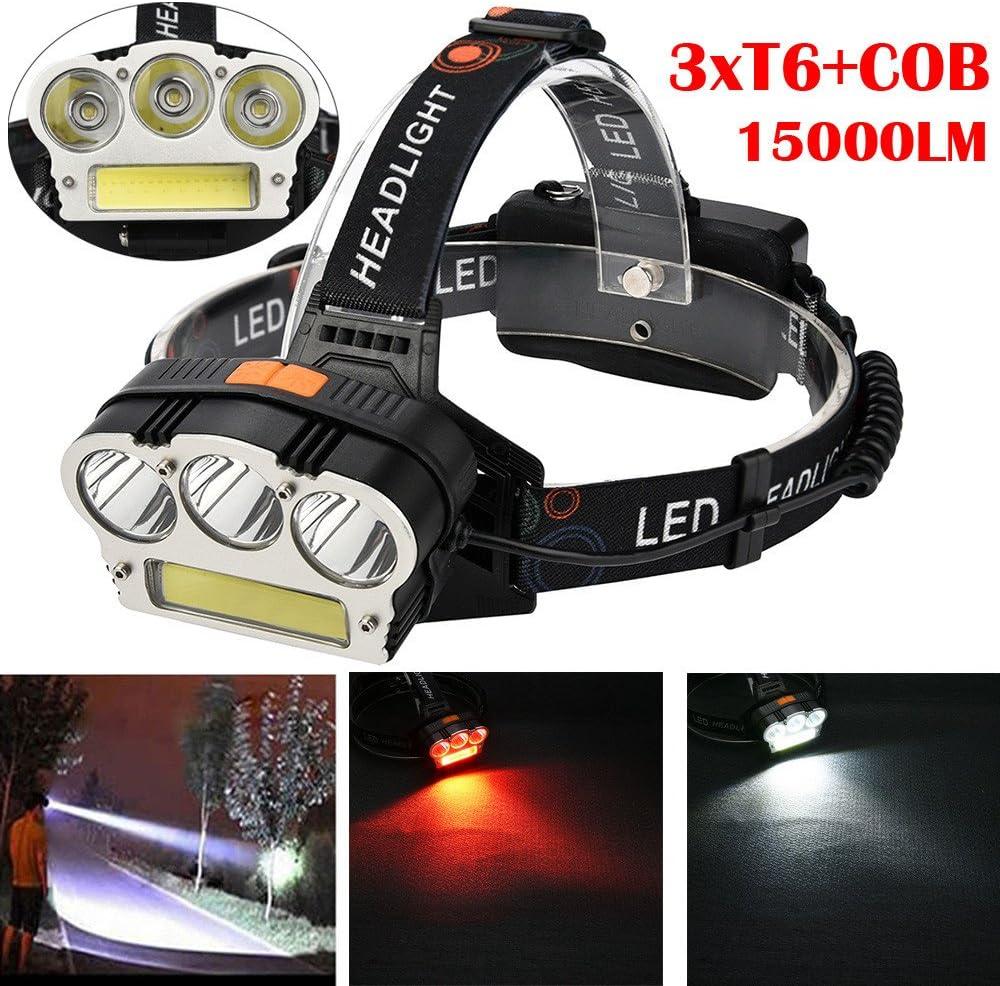 15000LM 3x XML T6 LED Headlamp Head Torch Headlight Camping Flashlight Lamp Tool