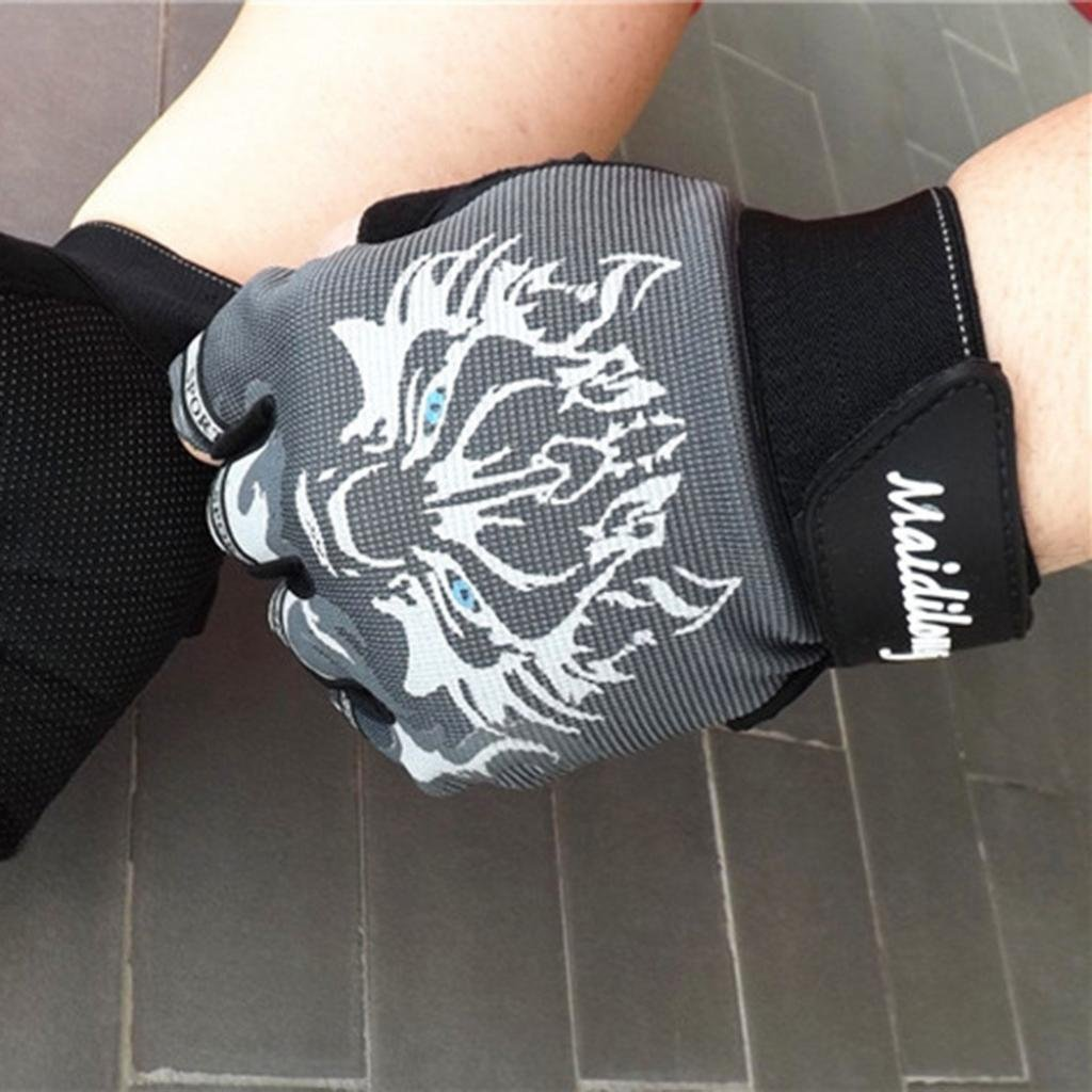 Quaanti Antiskid Cycling Bike Gym Fitness Gloves Fashion Safety Sports Breathable Wolf Head Gloves for Children Women Men Brown, M