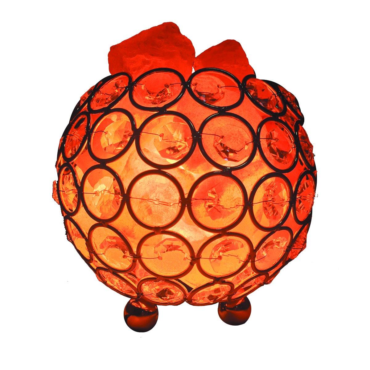 Himalayan Salt Lamp Pink Salt Chunks - Natural Crystal Sea Salt Rock Air Purifier Brightness Dimmable Switch and 2 Bulbs (Golden)