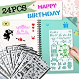 Bullet Journal Supplies Stencil Plastic Scrapbook Templates Journal/Notebook/Diary/Scrapbook DIY Drawing Template,24 Pieces