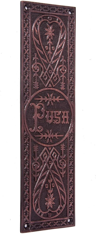 Satin Chrome Sanford Hall Antique Copper Push Finger Plate