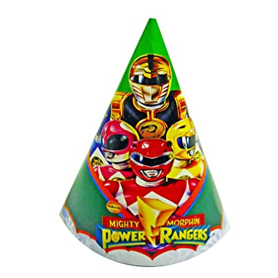 Mighty Morphin Power Rangers Birthday Party Hats - 8pk.: Toys & Games