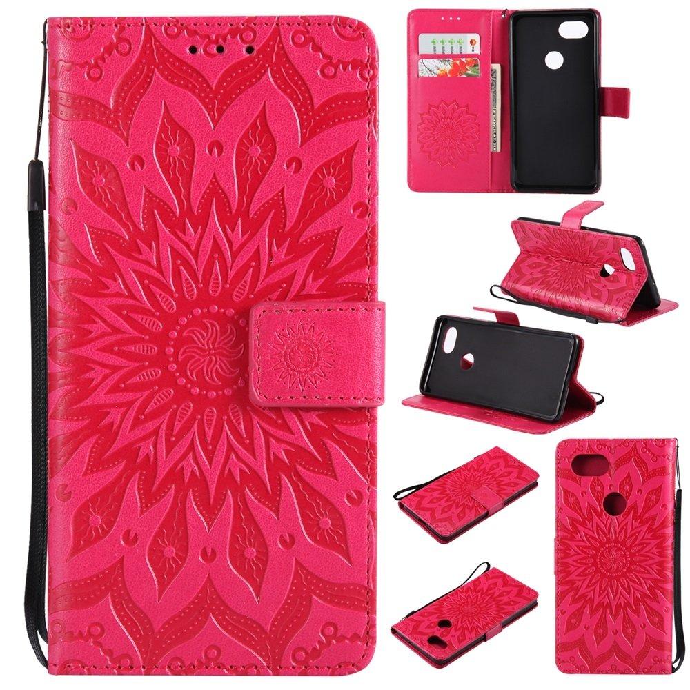 For Cell Phones Case, Sun Flower Printing Design PU Leather Flip Wallet Lanyard Protective Case With Bracket Card Slot For Google Pixel XL 2 (2017) ( Color : Rose Gold ) JDDRUS