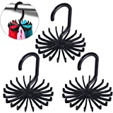 Tinksky Tie Rack Belt Hanger Scarf Holder Hook for Closet Organizers,  360 Degree Rotating 20 Hooks, 3 Pack (Black)