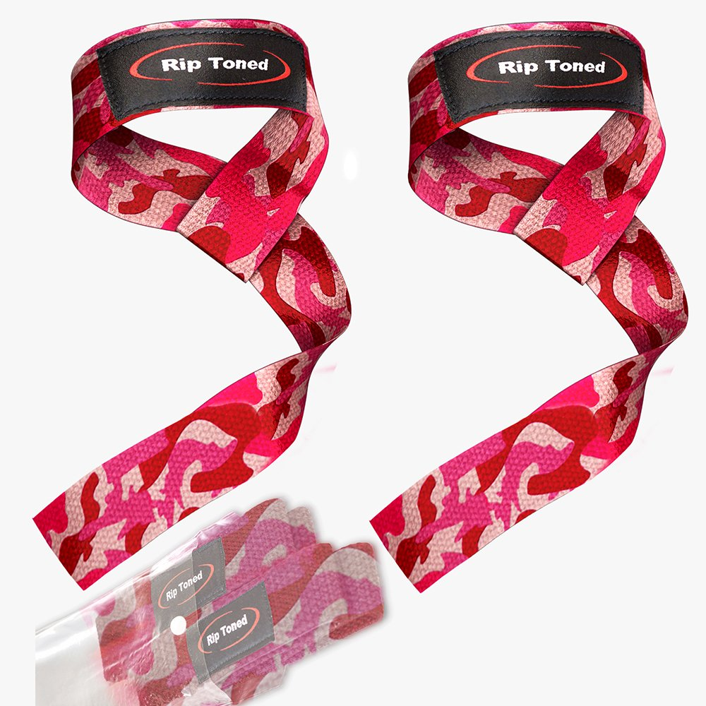 Rip Toned Lifting Wrist Straps by (Pair) - Bonus Ebook - Cotton Padded - for Weightlifting, Bodybuilding, Crossfit, Strength Training, Powerlifting, MMA (Pink Camo)