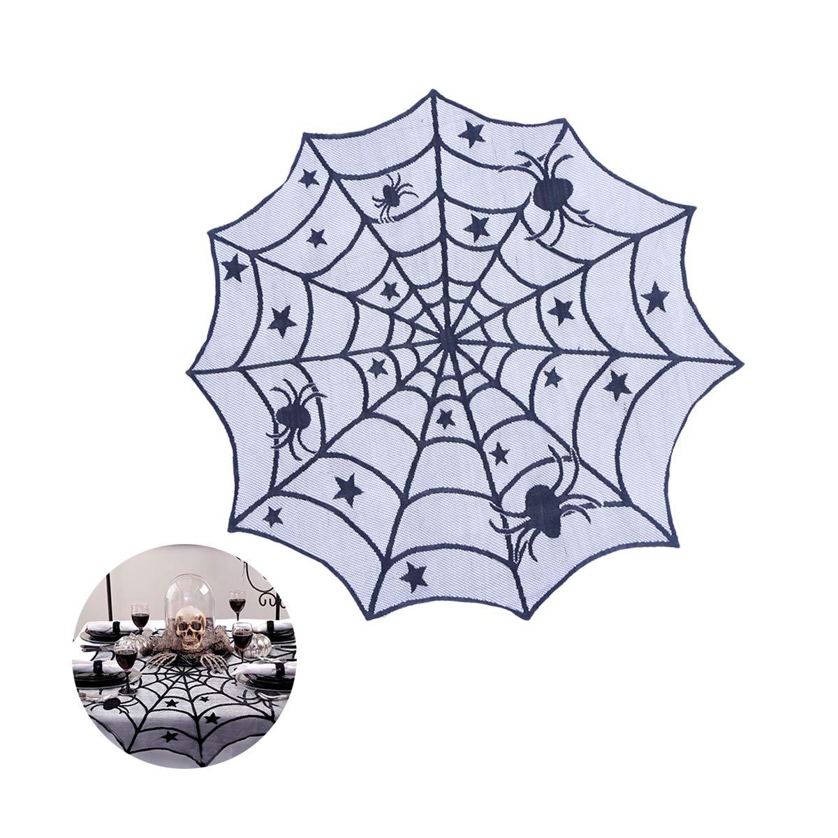 BESTOYARD Table Ronde en Toiles d'araignée Topper Couvre Nappe de Toile d'araignée de Toile Décoration de Table d'halloween (Noir)