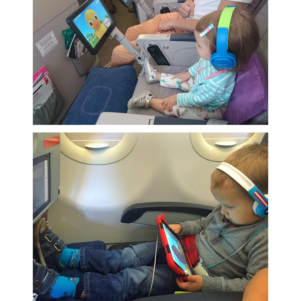 Inflatable Travel Footrest for Airplanes, Foot and Leg Rest Travel Pillow - Kids' Bed to Lay Down Flat on Flights (Blue)