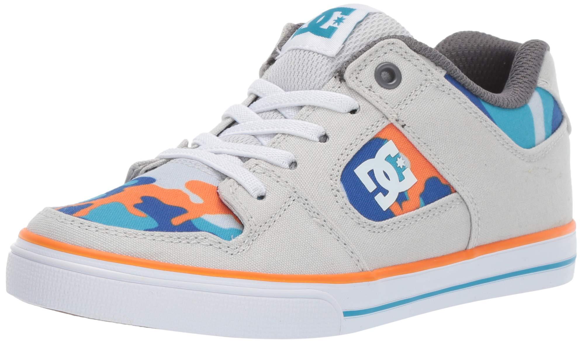DC Boys' Pure Elastic SE Skate Shoe, Blue/Orange, 6 M US Big Kid