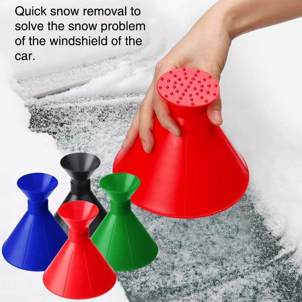 Red Yamii Ice Scraper Scrape A Round Magic Cone Shaped Ice Scraper Snow Shovel Tool for Car Windshield Windscreen