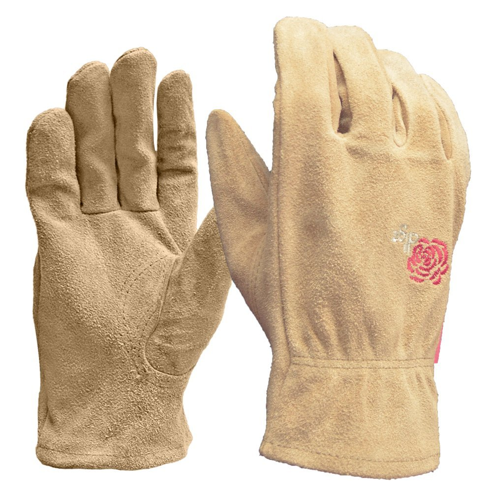 DIGZ Full Suede Leather Garden Gloves, Medium