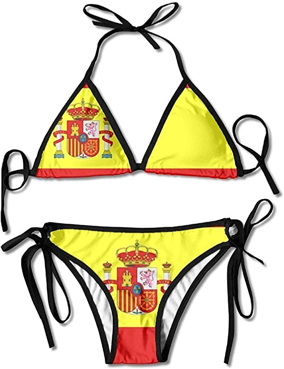 Traje De Baño, Bikini De Boxeo con Arnés Sexy De Bandera Española Bikini De Mujer con Cuello Halter Y Top De Bikini Sexy con Tanga: Amazon.es: Ropa y accesorios