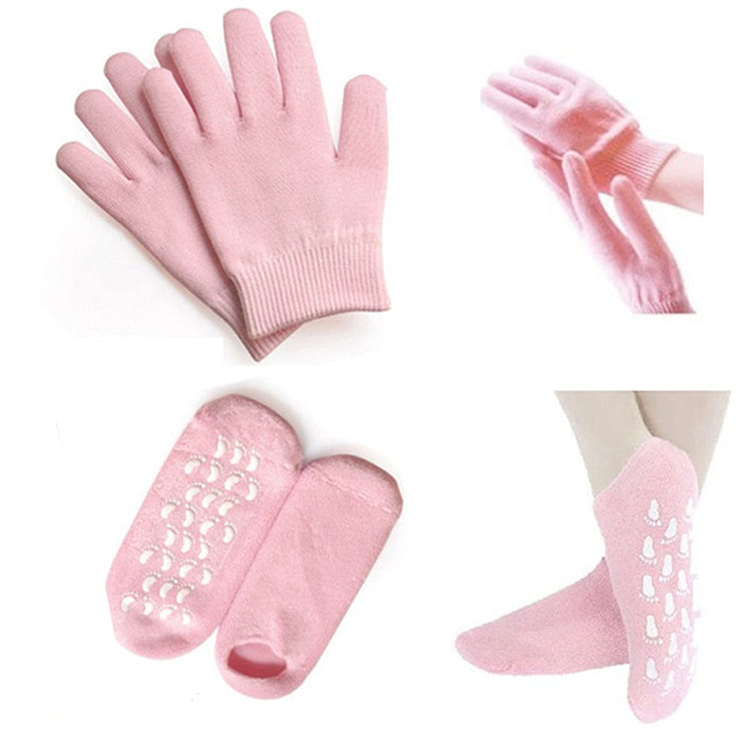 Healtheveryday® Pink Gel Gloves & Gel Socks Beauty Spa Moisturizing Skincare Soften therapy treatment care your feet&hands Exfoliating and Whitening Product