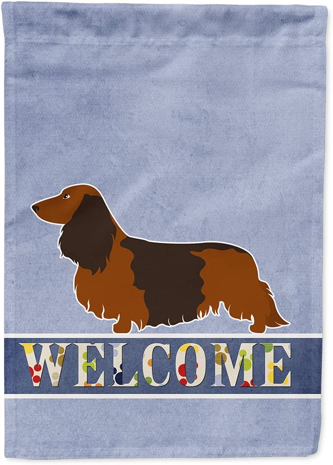 Caroline's Treasures BB8287GF Longhaired Dachshund Welcome Flag Garden Size, Small, Multicolor