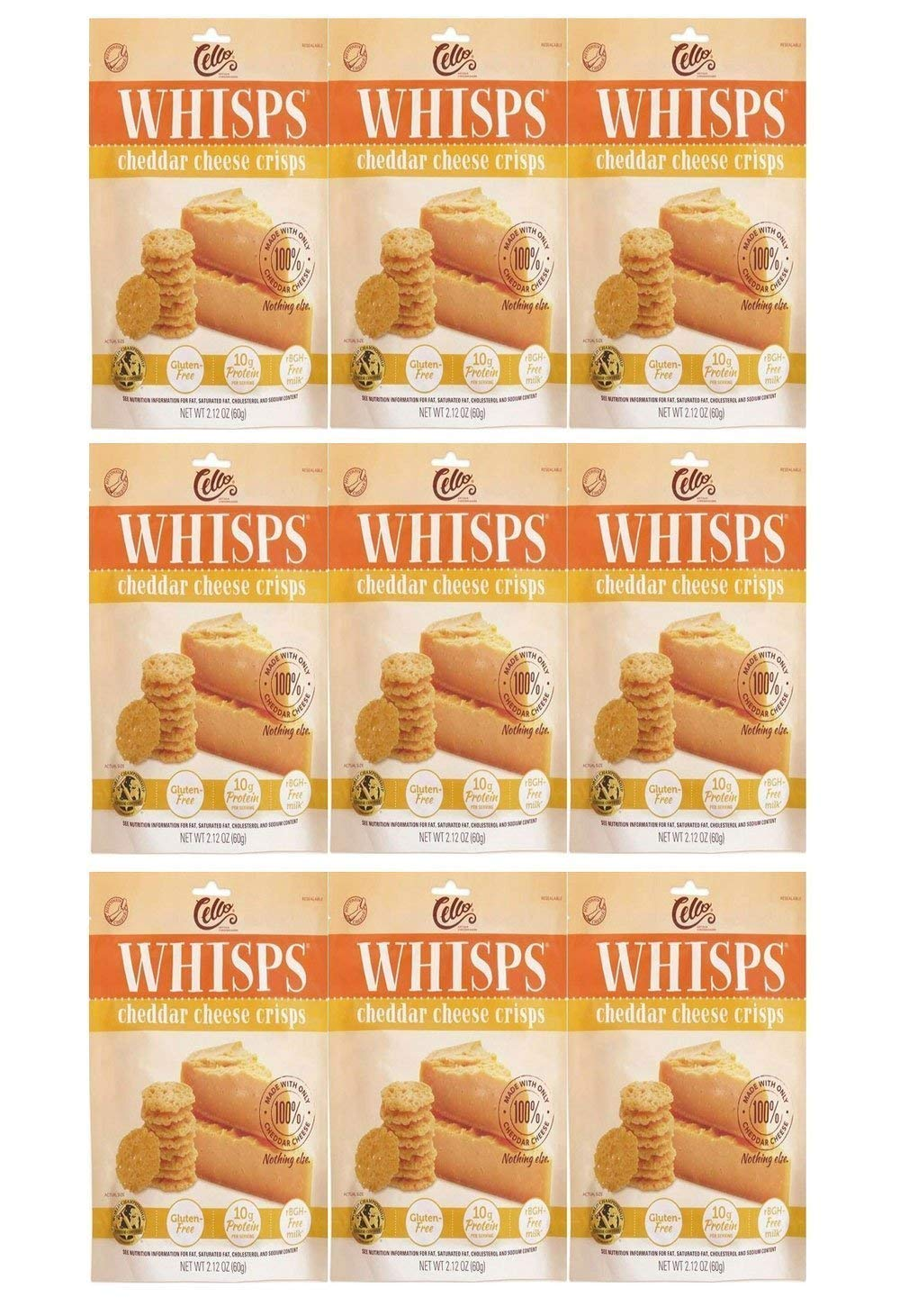 Whisps Cheddar Cheese Crisps 2.12 oz (9 Pack)