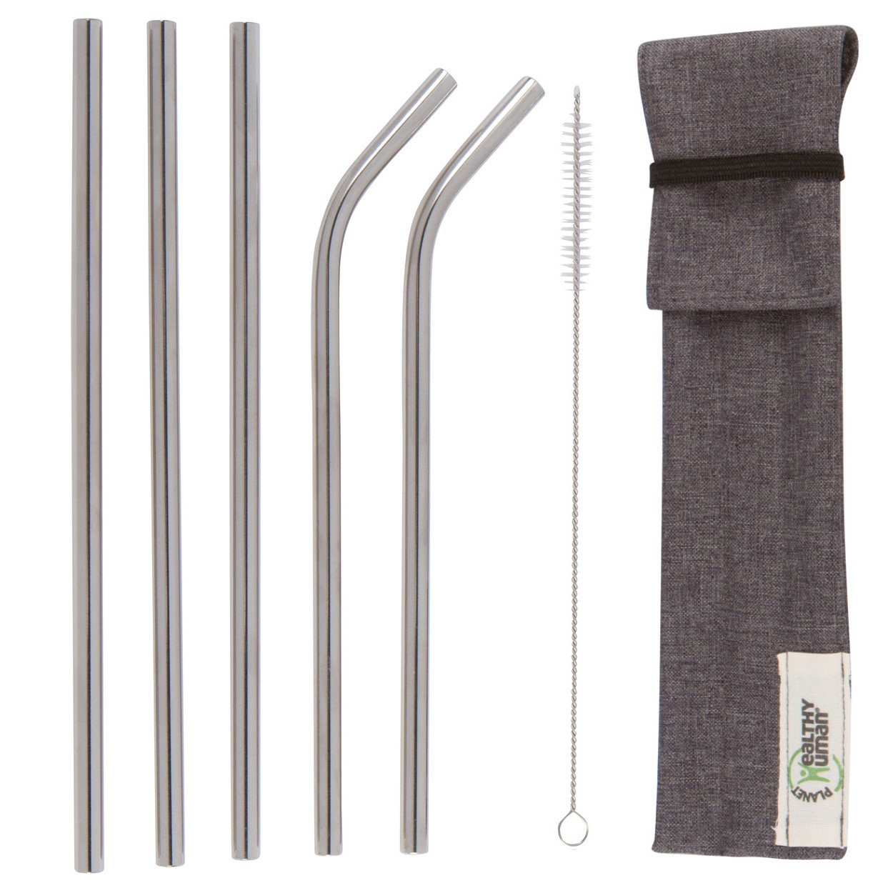 Healthy Human Reusable Stainless Steel Straws | Complete Portable Stainless Steel Straw Kit | 5 Straws - 3 Straight, 2 Curved | Includes Straw Cleaner and Travel Case | Great for Smoothies, Water by Healthy Human