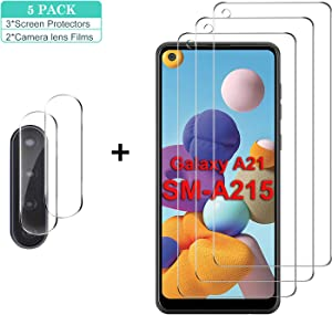 GESMA for Samsung Galaxy A21 Screen Protector and Camera Lens Protector, [3 Screen Protectors+2 Camera Protectors] Bubble Free 9H Tempered Glass Screen Protector for Samsung Galaxy A21(Clear)