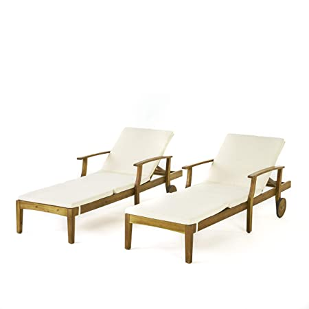 Great Deal Furniture Daisy Outdoor Teak Finish Chaise Lounge with Cream Water Resistant Cushion Set of 2